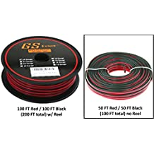 GS Power True 24 Ga (American Wire Gauge) 99.9% OFC oxygen free copper, 2 Conductor Red Black Bonded Zip Cord Speaker Cable for Car Audio, Home Theater, LED strip Light