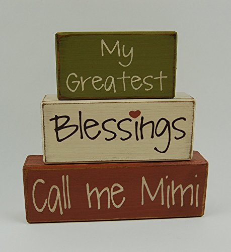 My Greatest Blessings Call Me Mimi-Grandma-Nana - Primitive Country Wood Stacking Sign Blocks Home Decor Mother's Day Birthday For Grandparents