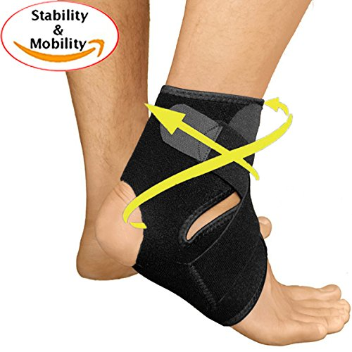 Ankle Brace Support Wrap – Neoprene Sleeve with Adjustable Straps for Foot Accidents, Planter Fasciitis, Ankle Sprains and Restoration. – Sports Center Store