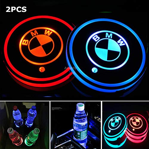 Aswelly LED Car Cup Holder Lights for BMW, 2PCS Car Logo Cup Coaster with 7 Colors Changing USB Charging Mat, Luminescent Cup Pad Interior Atmosphere Lamp Cool Car Accessories for BMW