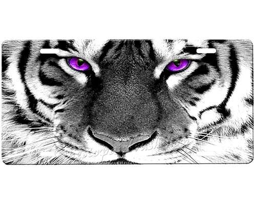 Tiger Eyes (5) Personalized Aluminum License Plate Auto Truck Car Front Tag Sign Metal 12 x 6 Inch