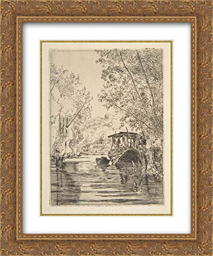 Dyer Boats - Felix Bracquemond - 28x36 Gold Ornate Frame and Double Matted Museum Art Print - The Dyer's Boat (Bas-Meudon)