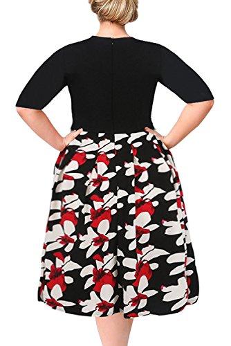 89d2bd053fd Nemidor Women s Floral Print Vintage Style Plus Size Swing Casual Party  Dress  Amazon.com.au  Fashion