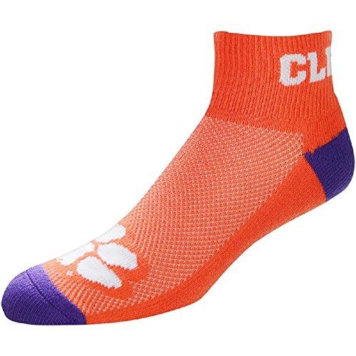 11 Team Logo Socks - For Bare Feet NCAA Men's Cuff Team Logo Quarter-Length Socks-Clemson Tigers-Large(10-13)
