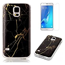 For Samsung Galaxy S5 / S5 Neo Marble Case with Screen Protector ,OYIME Creative Glossy Black & Gold Marble Pattern Design Protective Bumper Soft Silicone Slim Thin Rubber Luxury Shockproof Cover