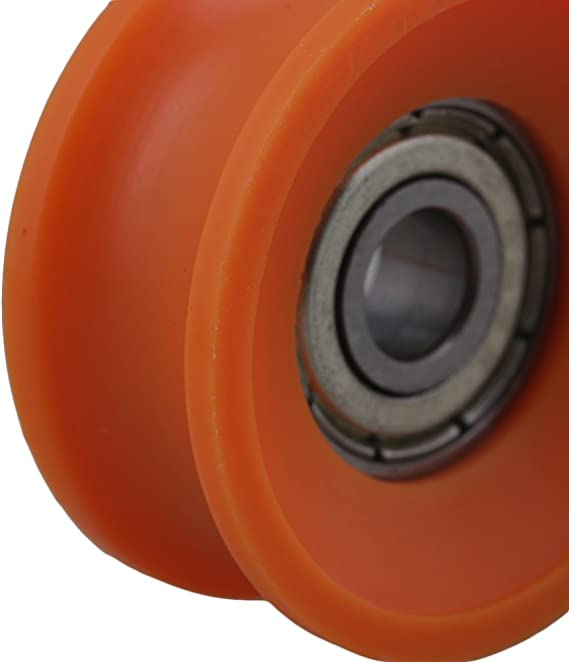 CNBTR 4Pieces 6x30x13mm Plastic Coated Sealed Bearings Steel 606ZZ Deep U Groove Guide Pulley Rail Ball Rolling Bearing Wheel Orange