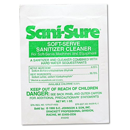 Diversey 90234 Sani Sure Soft Serve Sanitizer & Cleaner, Powder, 1 oz. Packet (Case of 100)