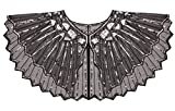 FAIRY COUPLE 20s Beaded Sequin Wrap Evening Shawl Flapper Cape Glitter W20S001(Black Silver)