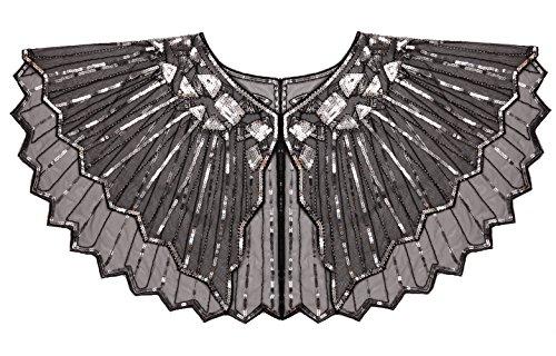 FAIRY COUPLE 20s Beaded Sequin Wrap Evening Shawl Flapper Cape Glitter W20S001(Black Silver) - Cape Glitter