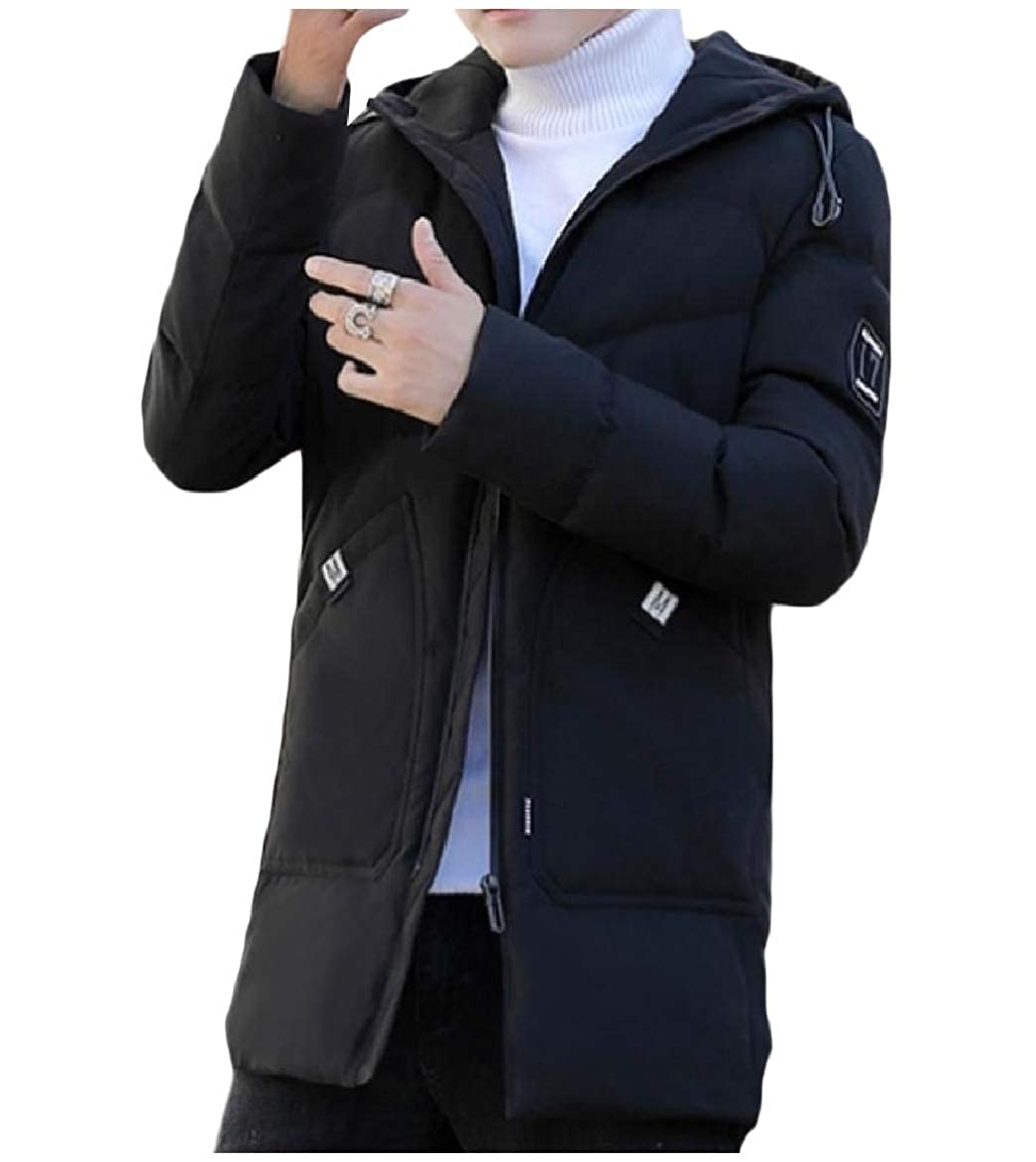 Abetteric Men Thickened Puffer Parka Hoodie Jackets Quilted Relaxed Down Coat