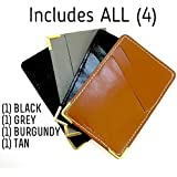 THINNER Business Card Holder Minimalist SLIM WALLET Credit Cards Case, Leather Work Tooling, Travel, Sports, Unisex for Men and Women - Multi Color Money Clip Pocket with Stitching (4 PACK)