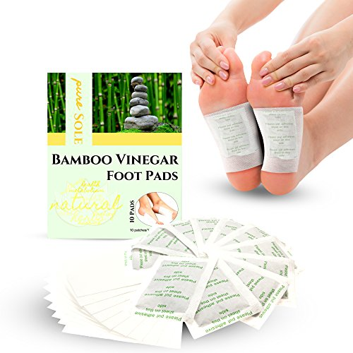 Bamboo Vinegar Foot Pads by Pure Sole Foot & Body | All Natural & Premium Ingredients for Best Relief & Results | Apply, Sleep & Feel Better | No Stress Packaging | 10 Pack - Buy 2 Get More Off