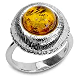 Sterling Silver Amber Round Ring