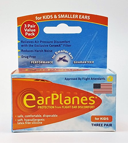 Original Children's EarPlanes by Cirrus Healthcare Ear Plugs Airplane Travel Ear Protection 3 Pair BONUS VALUE (Childrens Airplane)
