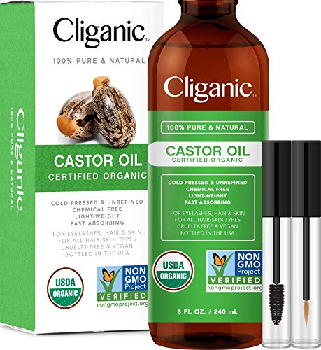 Cliganic USDA Organic Castor Oil, 100% Pure with Eyelash Kit (8oz) | For Eyelashes, Eyebrows, Hair  Skin | Natural Cold Pressed Unrefined Hexane-Free | DIY Carrier Oil | Cliganic 90 Days Warranty reviews