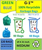 G 1 Disposable Garbage Bags for Wet and Dry Waste (60 Pieces Blue and 60 Pieces Green) Medium Size - 4 Packs