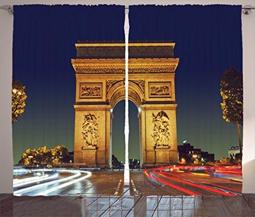 Ambesonne Paris Decor Collection, Arc de Triomphe Paris France Tourist Entrance Roundabout Evening Sunset Image, Living Room Bedroom Curtain 2 Panels Set, 108 X 90 Inches, Navy Red Ivory (Evening In Paris Theme Party)