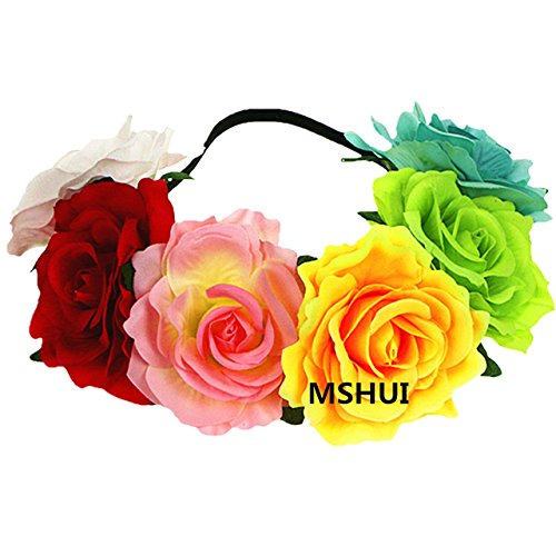 MSHUI Women's Hawaiian Stretch Flower Headband for Garland Party Halo Crown (Rainbow color)