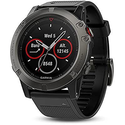 Garmin Fenix 5X Sapphire Multisport 51mm GPS Watch - Slate Gray with Black Band (010-01733-00) + 1 Year Extended Warranty + Silicon Wrist Band - Green + Universal USB Travel Wall Charger