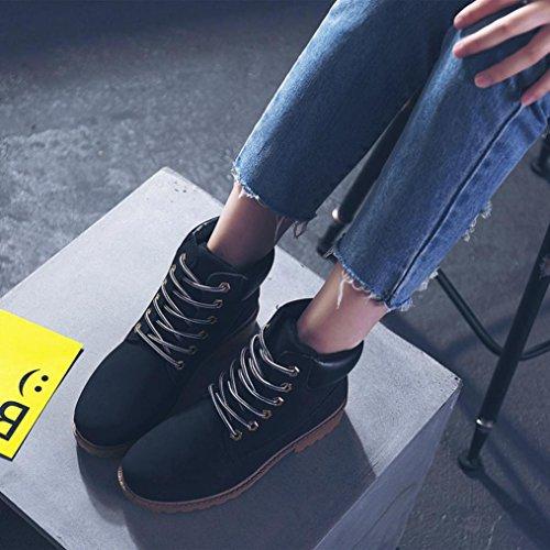 Damen Martin Stiefel, Weihnachtsgeschenk SHOBDW Damen Stiefel Flach Stiefeletten Outdoor Freizeit Biker Boots Schwarz