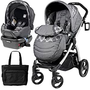 peg perego book plus stroller travel system with a diaper bag pois grey baby. Black Bedroom Furniture Sets. Home Design Ideas