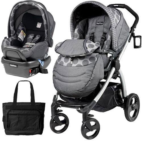 Peg-Perego-Book-Plus-Stroller-Travel-System-with-a-Diaper-Bag-Pois-Grey