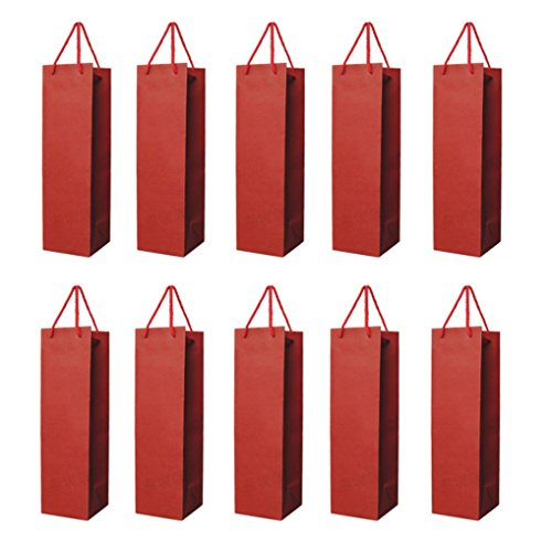 Homanda Pack of 10 Red Kraft Paper Wine Tote Bag