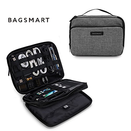 BAGSMART 3-layer Travel Electronics Cable Organizer Bag for 9.7 iPad, Hard Drives, Cables, Charger, Kindle, Grey