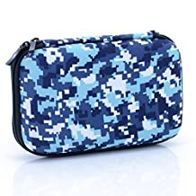 U-TIMES Hard Drive Case,Camouflage Rectangle EVA Shell Carrying Bag for Cell Phone,SSD,External Battery,iPod Touch,Game Pad,Charging Cable(Blue)