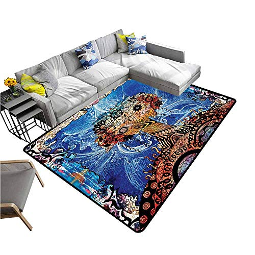 Large Floor Mats for Living Room Colorful Trippy,Indie Style Sketchy Retro Tree with Flower Forms on Paisley Backdrop Abstract Image,Blue Brown 64