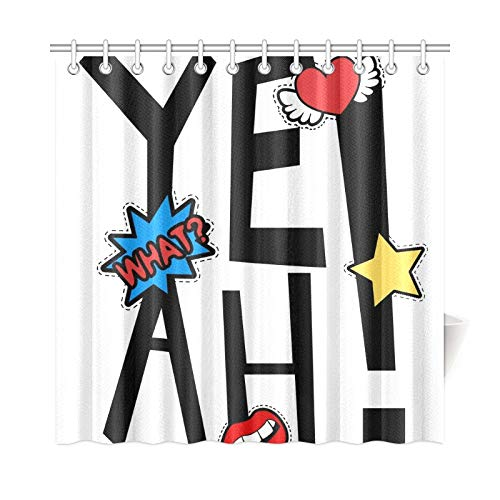 VNASKL Home Decor Valance Curtains for Bathroom Yeah Patches Slogan Design Other Polyester Fabric Waterproof Curtain Bath for Bathroom 7272 Inch with Hooks ()