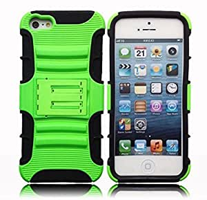 Feelglad Iphone 5/5s Bracket Case Protective Sleeve Shell Bumper Shock-absorption Bumper and Anti-scratch for Iphone 5 5s (D- Green)