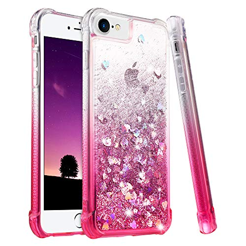 Ruky iPhone 6/6S/7/8 Case, iPhone 6s Glitter Case, [Gradient Quicksand Series] Bling Flowing Liquid Floating TPU Bumper Cushion Protective Girls Women Case for iPhone 6/6s/7/8 4.7 inch, Gradient Pink