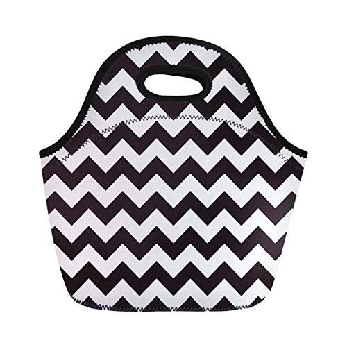 (Semtomn Neoprene Lunch Tote Bag Tone Zigzag Pattern Monochrome Two Shadow Abstract Black Block Reusable Cooler Bags Insulated Thermal Picnic Handbag for)
