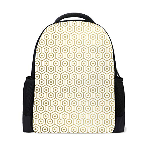 MONTOJ Golden Combined Geometry Graphics Polyester Travel Backpack Laptop -