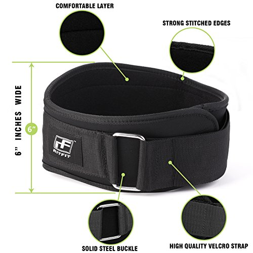 New Year Deal RitFit Weight Lifting Belt Great for Squats, Crossfit, Lunges, Deadlift, Thrusters Men and Women 6 Inch Black Firm & Comfortable Lumbar Support with Back Injury Protection