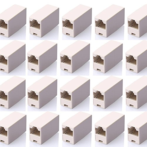SIENOC 20 Pcs RJ45 Coupler Ethernet Cable Extender Female to Female Straight Modular Inline Coupler (20 Packs RJ45 Female to Female Plug Coupler)