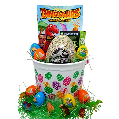 Easter Basket Gifts - Dinosaur Themed Toys Jurassic World Puzzle Hatching Dinosaur, Fossil Kit, Candy, Dinosaur Coloring Book, Easter Gifts For Kids, Grand-kids, Nieces, Nephews