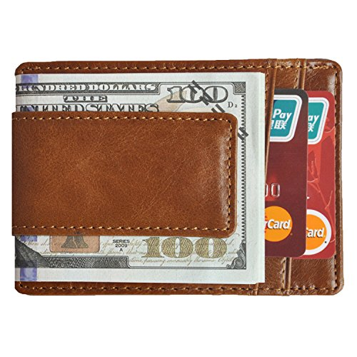 Brown Clip Money Clip (Volcanic Rock Slim Minimalist Leather Front Pocket Wallets with Money Clip Thin Credit Card Holder(8002-Brown))