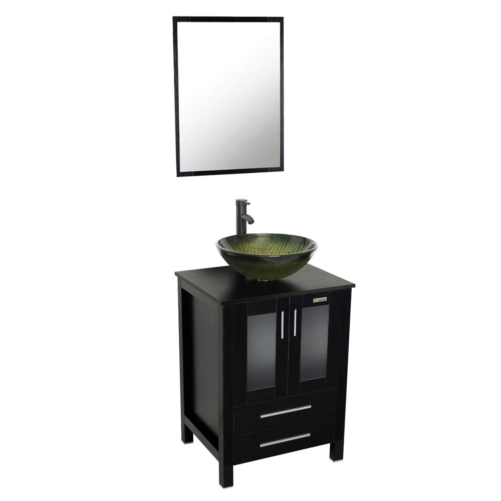 24 Inch Single Modern Bathroom Vanity Top With Tempered Glass Vessel Sink 1.5 GPM Faucet Oil Rubbed Bronze, Bathroom Vanity Sink Combo Hot Melt Technology, 3 8 Connection