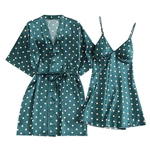 ANJUNIE Women Pajamas V-Neck Spaghetti Strap Sleepwear Slik Chemise Mini Slip Robe Lingerie Sling Nightgown(Green,XL) ()