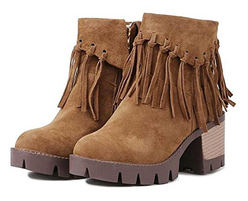 Chfso Mujeres Trendy Solid Suede Fringe Round Toe Zipper Chunky Botines De Tacón Alto Marrón