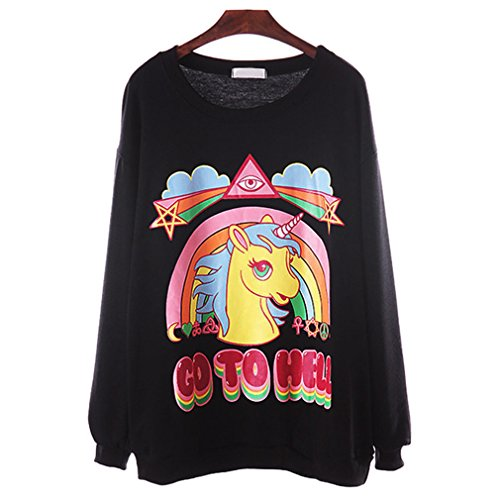 SAYM Women's Unicorn Rainbow Go to Hell Letters Printed Sweatshirt Top (Black)