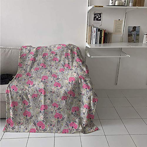 - Custom Design Cozy Flannel Blanket, Wild Garden Foliage Dahlia Peony Pansy Flora Pink Petals Pastel Colors Feminine, Oversized Travel Throw Cover Blanket 70x60 Inch Multicolor