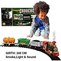 Mqfit Battery Operated Light Sound Smoke Classical Train Track Set for Kids (Choo Choo)