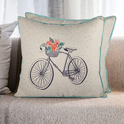 Resvina Throw Pillow Covers Spring Decorations (18 x 18Inch Square Cushion case) Bicycle Rain Boots Pillow Cases for Living Room Sofa Bedroom 2 Set