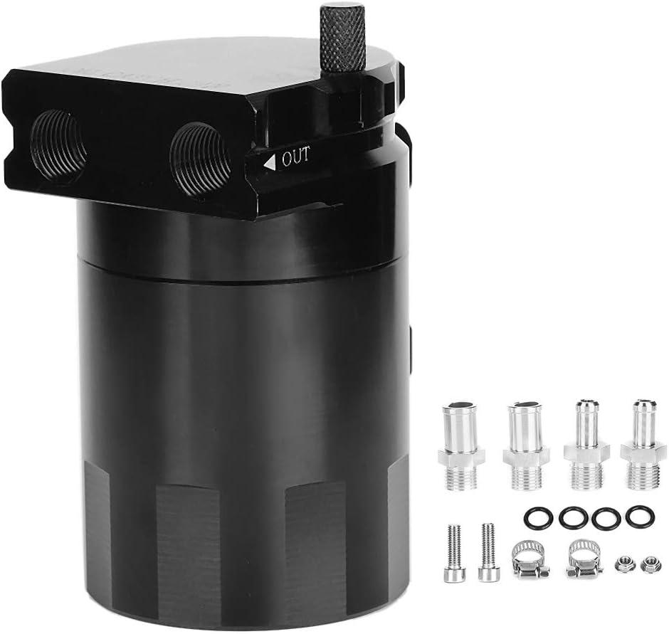 Kit Universale Oil Catch Can Kit Serbatoio da 300 ml Motore Serbatoio Nero Lega di Alluminio con deflettore Polacco Nero Qiilu Oil Catch Can