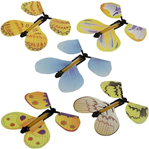 Random Colors Anytec 5PC Wind up Butterfly Flutter Card Prank Flying Paper Butterflies for Birthday Anniversary Wedding Card Gift Toys Magic Flying Butterfly