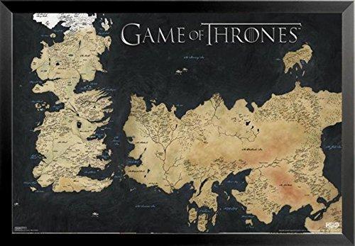 Buyartforless Framed Westeros And Essos   Game Of Thrones Map 36X24 Tv Show Art Poster Print