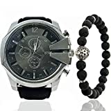 All Black Silver 50mm Men Big Face Watch Set Quartz Analog Stainless Steel Watches Beaded Bracelet